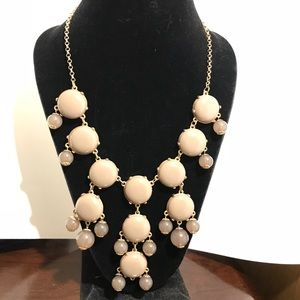 """Jewelry - Nude Tan Gold Bauble Bubble Bib Necklace 30"""""""